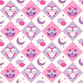 Seamless owls birds bedroom background Royalty Free Stock Photo