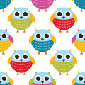 Seamless owls pattern Stock Photography