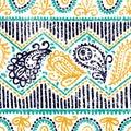 Seamless paisley pattern. Ethnic and tribal motifs. Horizontal l