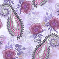 Seamless paisley pattern with scalloped edges, decorated with pi