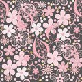 Seamless paper cut lace floral pattern on gray Royalty Free Stock Photo