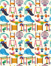 Seamless park playground pattern Stock Photo