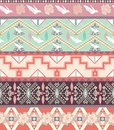 Seamless pastel aztec pattern with birds and roses geometric flowers Royalty Free Stock Images