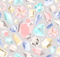 Seamless pastel diamonds pattern background with colorful gemstones Royalty Free Stock Photos