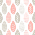 Seamless pastel nature vector pattern. Leaves with lines and twigs on white background. Hand drawn abstract spring ornament