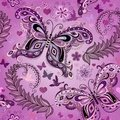 Seamless pastel pink vintage pattern with butterflies vector eps Stock Photo
