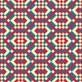 Seamless patchwork abstract geometric pattern three color motif Royalty Free Stock Photo