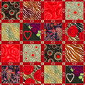 Seamless patchwork design floral pattern with bright elements Royalty Free Stock Photo