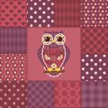Seamless patchwork owl pattern background Stock Images