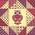 Seamless patchwork owl pattern background Royalty Free Stock Photography
