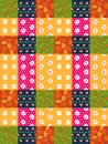 Seamless patchwork pattern from bright colorful patches with leaves and flowers.