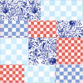 Seamless patchwork pattern delfts blue Stock Images