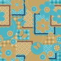 Seamless patchwork pattern with different objects Stock Image
