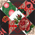 Seamless patchwork pattern with flowers stock illustration Royalty Free Stock Image