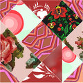 Seamless patchwork pattern with flowers stock illustration Stock Image