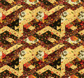 Seamless patchwork pattern with flowers. Vintage