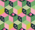 Seamless patchwork pattern with green, pink and floral patches Royalty Free Stock Photo