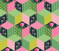 Seamless patchwork pattern with green, pink and floral patches. Royalty Free Stock Photo