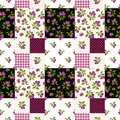 Seamless patchwork pattern with plums. Vector illustration. Royalty Free Stock Photo