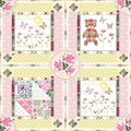 Seamless patchwork pattern with teddy bear and flowers