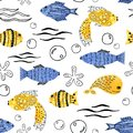 Seamless patten with cartoon animals of the underwater world. Sea mammals. Fish, whales, dolphins, starfish, algae for the design