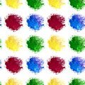 Seamless patten of watercolor rainbow blotch splashes of red yellow blue and green color isolated on white background for textiles