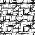 Seamless pattern with abstract black geometric figures in grunge style. Vector design elements Royalty Free Stock Photo