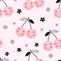 Seamless pattern with abstract cherries