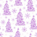 Seamless pattern with abstract christmas trees Stock Photos