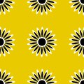 Seamless pattern of abstract colors of white and black on a yellow background