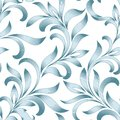Seamless pattern of abstract floral ornament with curled leaves. Blue tracery isolated on white background. Royalty Free Stock Photo