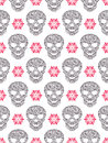 Seamless pattern with abstract floral skulls vector illustration of Royalty Free Stock Image