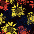 Seamless pattern with abstract flowers on black ba background vector illustration Stock Photography