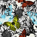 Seamless pattern with abstract flowers and flying Royalty Free Stock Photography