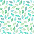 Seamless pattern abstract with green leaves vector illustration Stock Photo