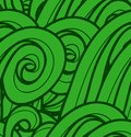 Seamless pattern with abstract green waves vector background Stock Photos
