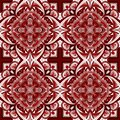 Seamless pattern with abstract mandala of red and white colors with ornaments, vector pattern