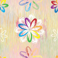 Seamless pattern with abstract rainbow flowers on colorful grunge striped background e Royalty Free Stock Photo