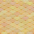 Seamless pattern abstract scales simple Nature background with japanese wave circle pattern pastel colors orange beige mustard bac Royalty Free Stock Photo