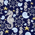 Seamless pattern of abstract sea horses, starfish, shell, steering wheel. Fantastic mechanical metal sea creatures on dark Royalty Free Stock Photo