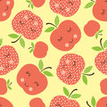 Seamless pattern with abstract  smiling apples Royalty Free Stock Photo