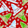 Seamless  pattern with abstract spruces and snowflakes of geomet Royalty Free Stock Image