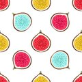 Seamless pattern with abstract varicoloured halves figs. Healthy dessert. Fruity repeating background. Hand drawn fruits
