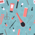 Seamless pattern with accessories and tools for manicure and pedicure