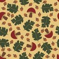 Seamless pattern with acorns and mushrooms Stock Image