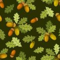 Seamless pattern with acorns and oak leaves. Vector illustration. Royalty Free Stock Photo