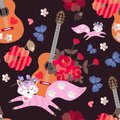 Seamless pattern with acoustic guitars, funny pink foxes, blue butterflies, hearts and red poppies on black background. Print