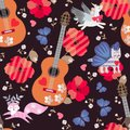 Seamless pattern with acoustic guitars, funny pink foxes, blue butterflies, hearts and red poppies on black background. Royalty Free Stock Photo