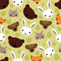 Seamless pattern with adorable animals vector texture for wallpapers fills web page backgrounds Stock Images