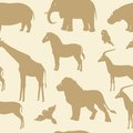Seamless pattern with african animal silhouettes collection of animals Royalty Free Stock Photography